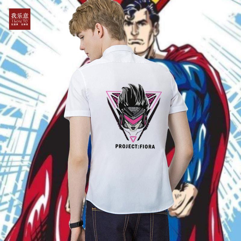 2018年我乐意潮牌男款短袖衬衫superman系列