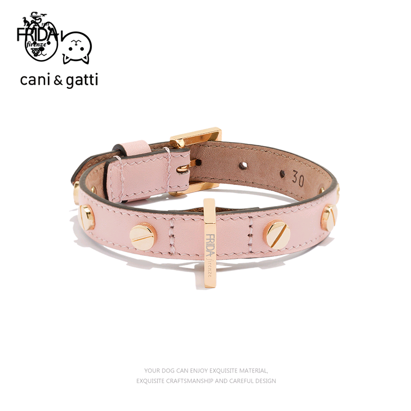 Frida pet dog collar imported from Italy, collar inlaid with nail, fashion leather, handmade high-end, large and small