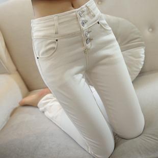 韓國2020秋冬新款高腰顯瘦加絨白色牛仔褲女九分緊身小腳鉛筆長褲