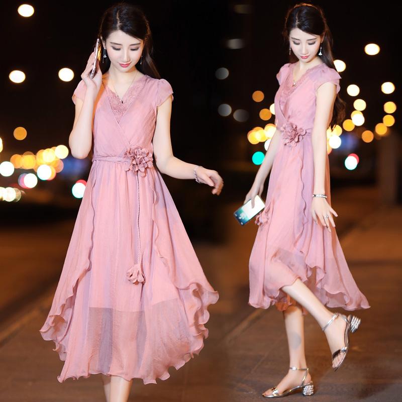 连衣裙女夏2018新款韩版休闲中长款修身气质雪纺夏季裙子女士夏装