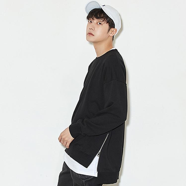 韩国风ulzzang嘻哈外套街舞hiphop/bboy侧拉链百搭棉圆领卫衣男女图片