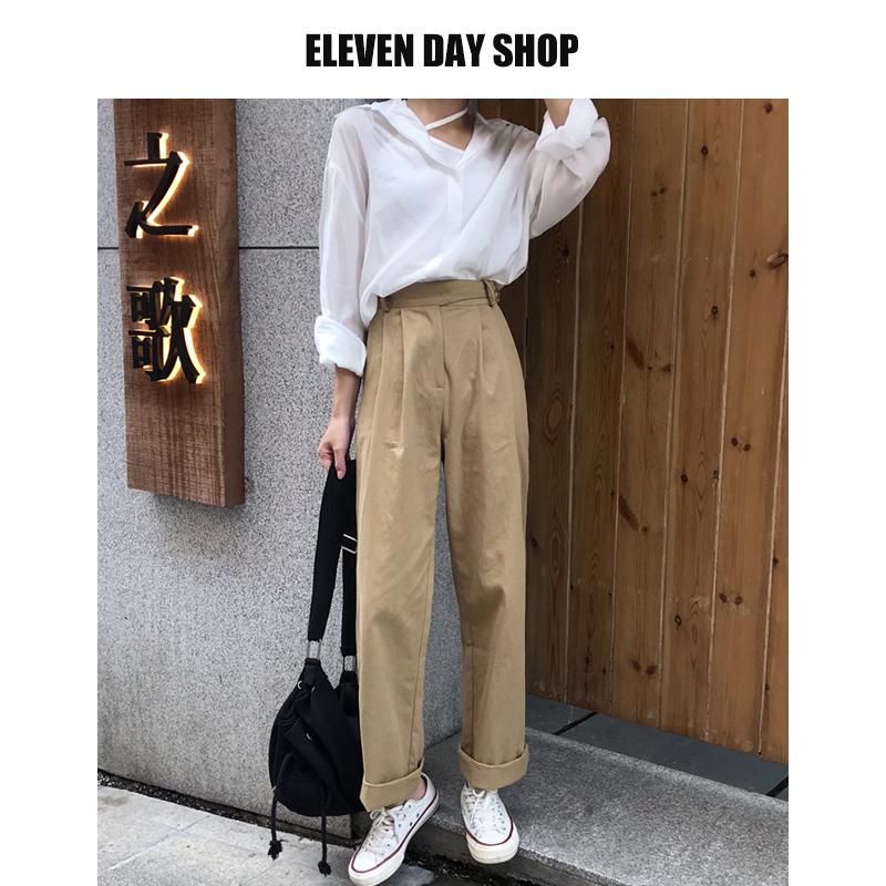 2021 new Korean loose wide leg pants high waist chic Khaki casual show thin versatile womens fashion