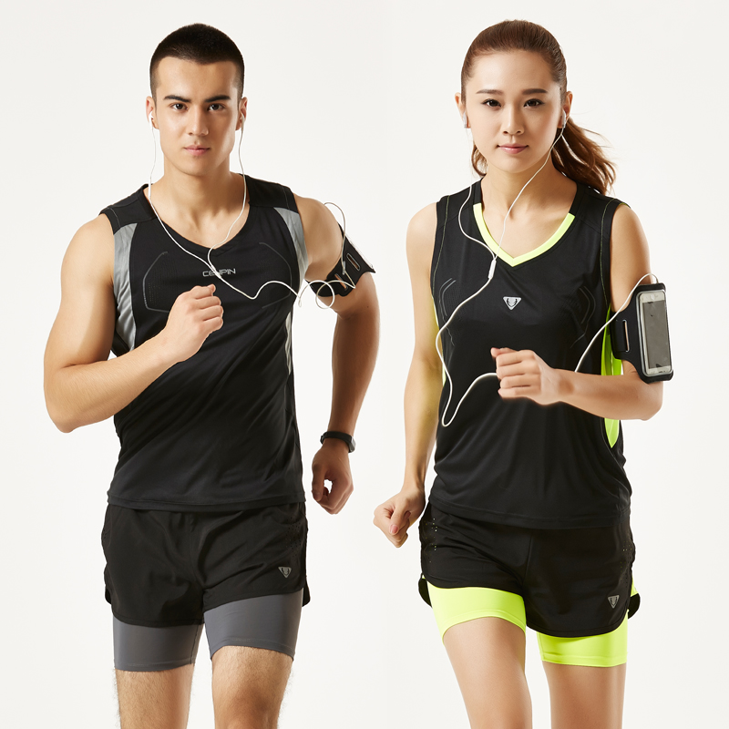 Мужской и женщины на открытом воздухе спортивный набор наряд лето поле путь одежда фитнес бег мара свободный конкуренция обучение шорты быстросохнущие