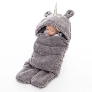 婴儿抱被新生双层羊羔绒襁褓抱毯冬季保暖婴儿包巾独角兽婴童睡袋图片