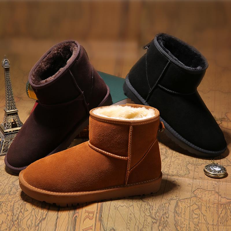 真皮雪地靴男冬季保暖加绒防水防滑靴子情侣面包鞋东北加厚棉鞋潮