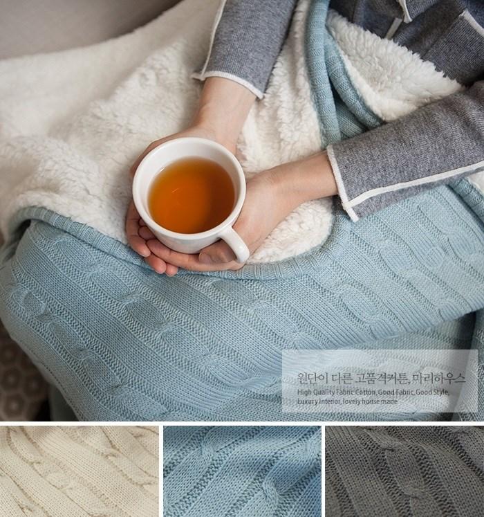 【韩国】L645 温暖仿羊羔绒内里舒适毛线毯子盖毯 三色可选