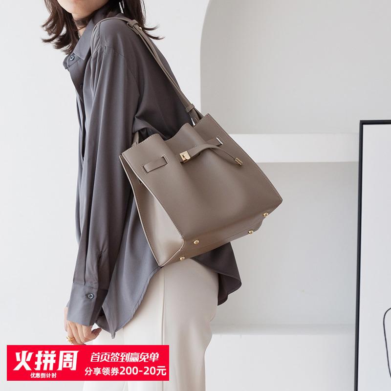 通勤水桶包2020新款潮大容量斜挎高级感软牛皮上班复古风单肩包女