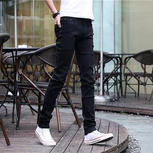 秋冬新款弹力男士牛仔裤男修身小脚裤黑色休闲直筒裤子男韩版潮流