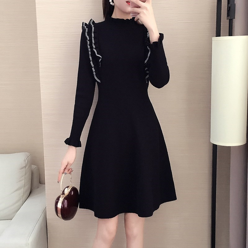 2021 Korean knitted Ruffle contrast color spring and autumn middle and long A-shaped skirt slim fashion dress womens new style