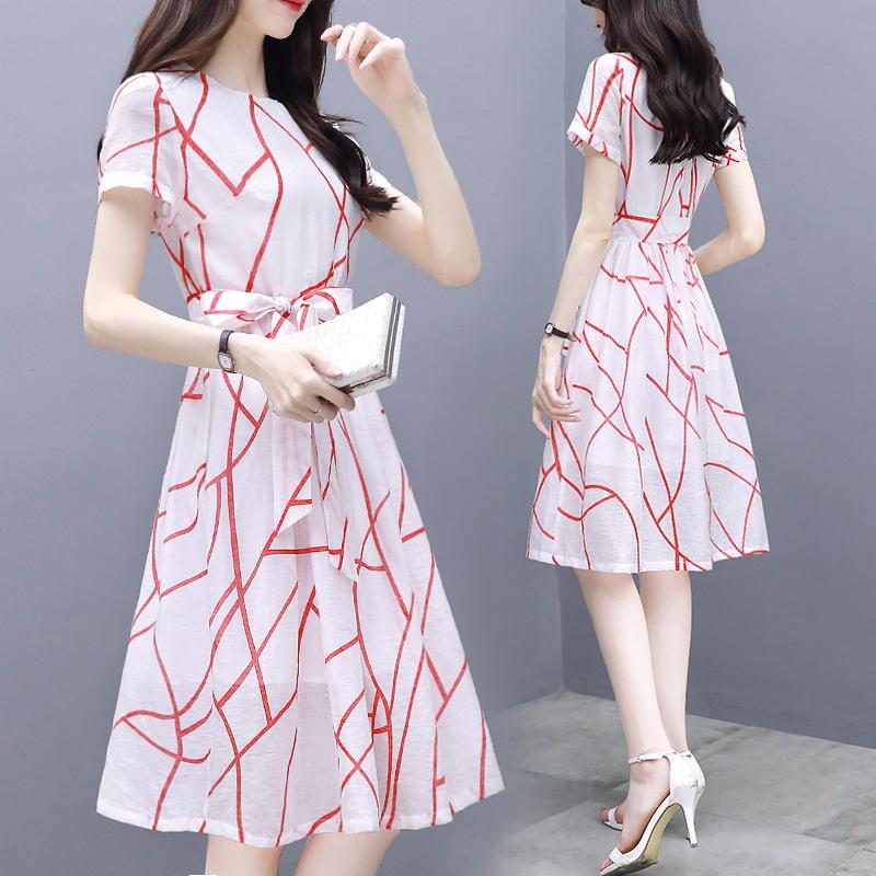 2019夏季新款韩版女装修身显瘦收腰系带中长款裙子条纹气质连衣裙