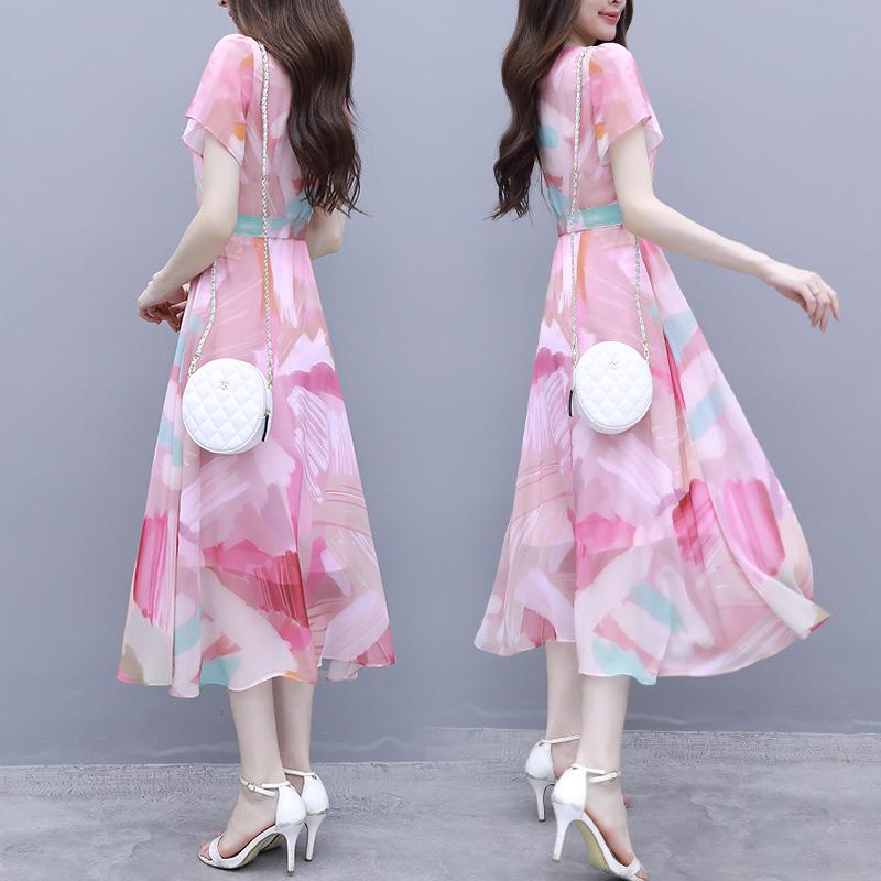 雪纺连衣裙女2019新款夏季时尚收腰过膝长裙气质显瘦流行女士裙子