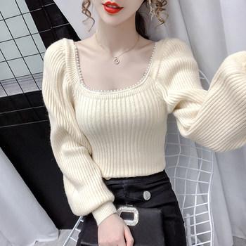 小衫秋冬季法式锁骨方领灯笼袖毛衣