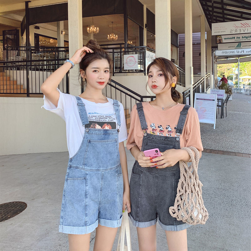 2020 summer new Korean loose and slim womens Black High Waist Wide Leg Denim strap shorts