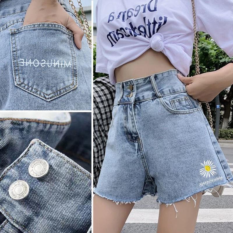 新款韩版刺绣高腰夏季女款雏菊牛仔短裤宽松显瘦阔腿a字裤