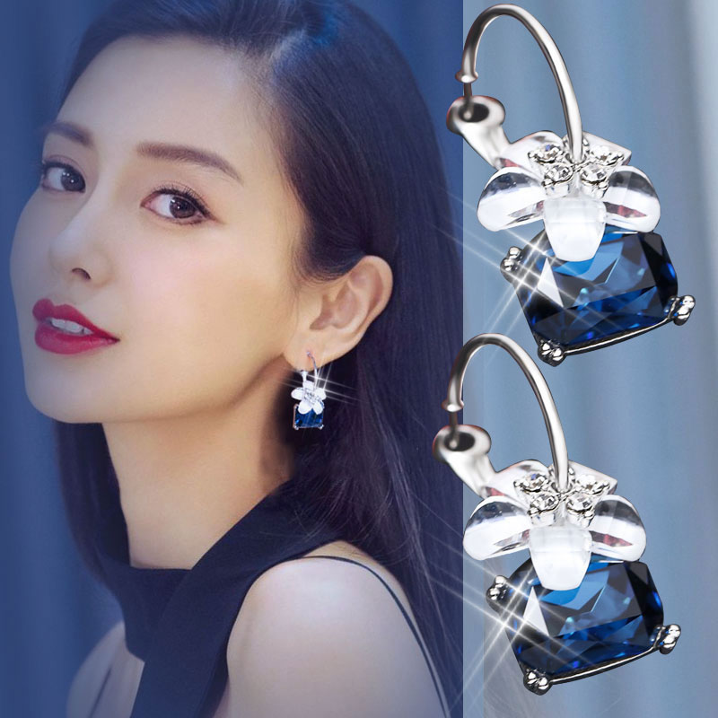 Star earrings female exaggerated fashion ear jewelry super temperament fashion fairy ring network Red-eared same paragraph Crystal cherry earrings