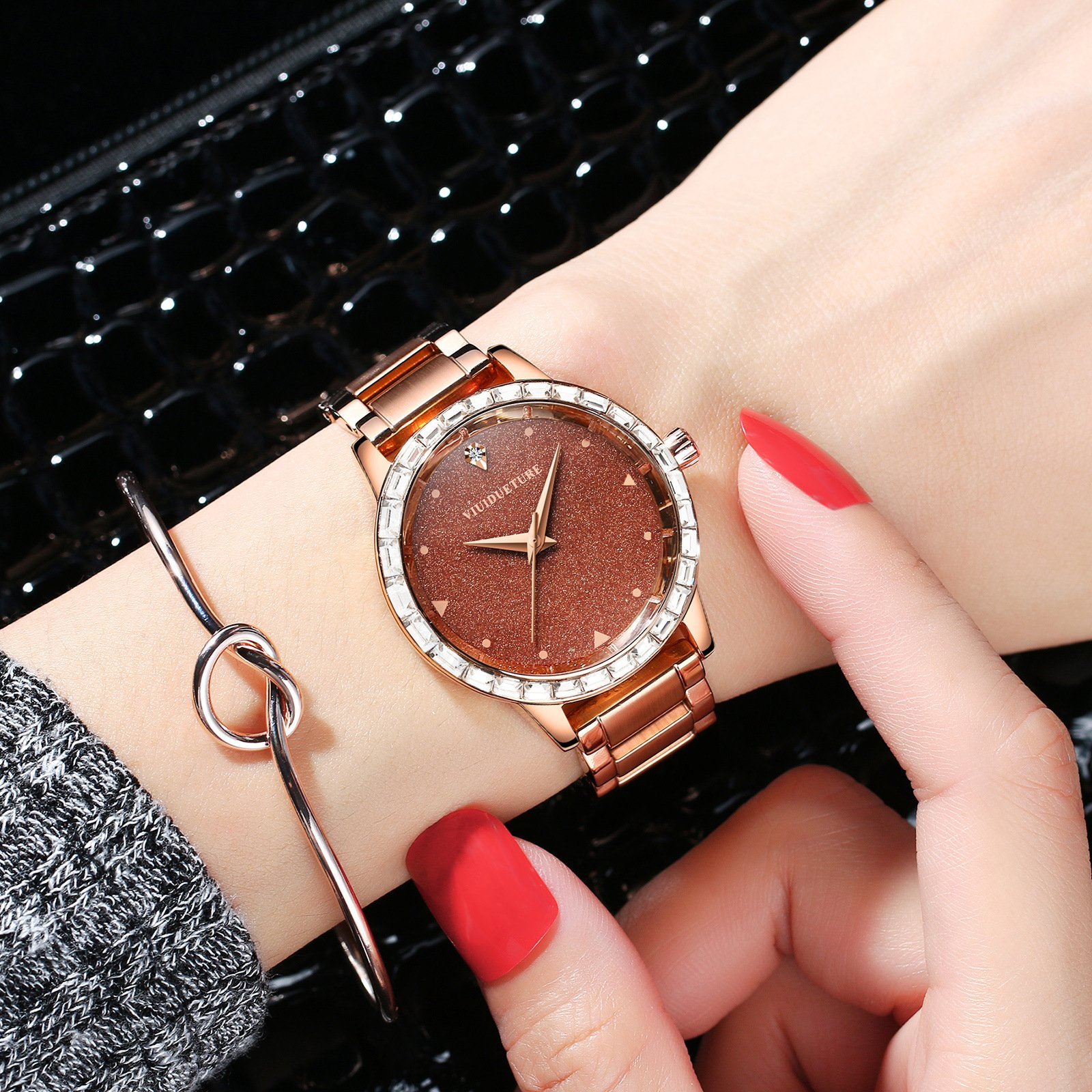 ADI Vinci womens watch fashion boutique bright star coffee face large dial student waterproof steel band Watch