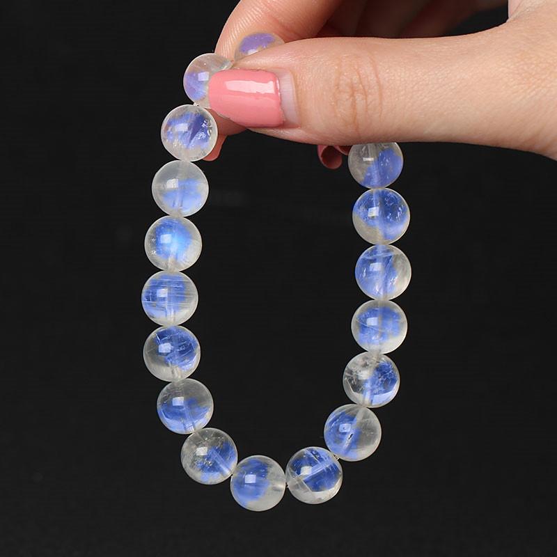 天然8A蓝月光石手链 冰种体蓝光彩色手链 水晶单圈手串饰品礼物女