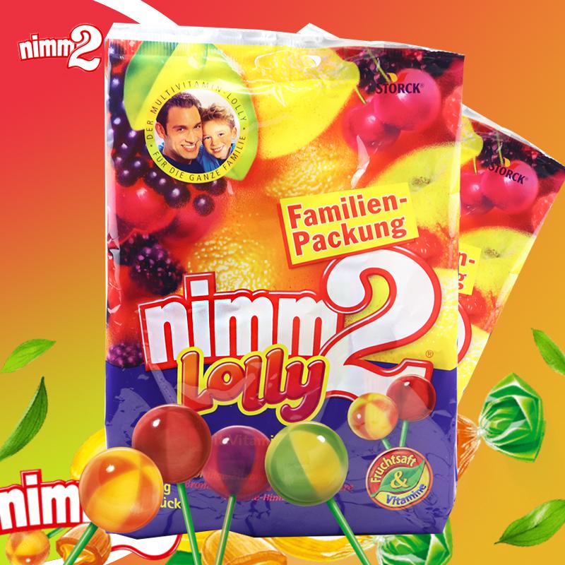 德国进口零食 nimm2 LOLLY 二宝4味水果棒棒糖维生素糖果20支200g41.00元包邮