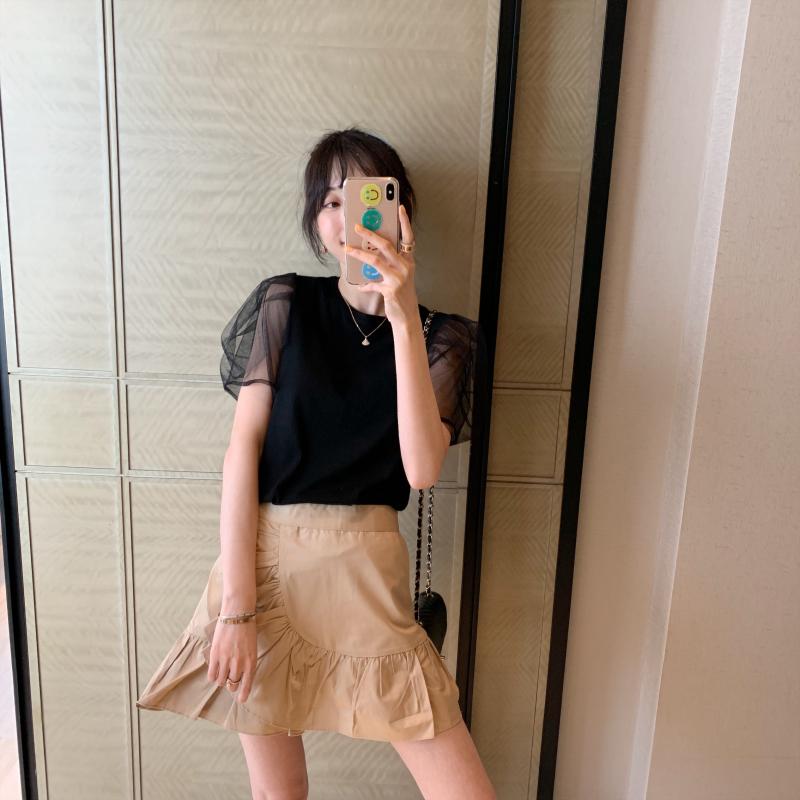 特◆张静芝韩国 华丽网纱泡泡袖小女人净色简约棉质显瘦T恤