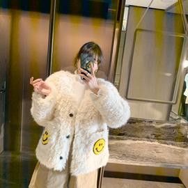 ◆张静芝韩国东大门 可爱笑脸插兜口袋卷卷毛宽松甜美外套棉服女