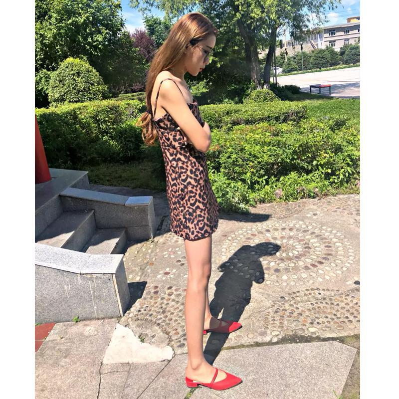 精神社会女裙子韩版显瘦快手红人大美同款性感吊带豹纹连衣裙潮流