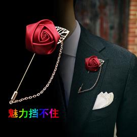 手工胸针男女款司仪胸饰西装胸花配饰 韩版玫瑰流苏胸针黑色胸花