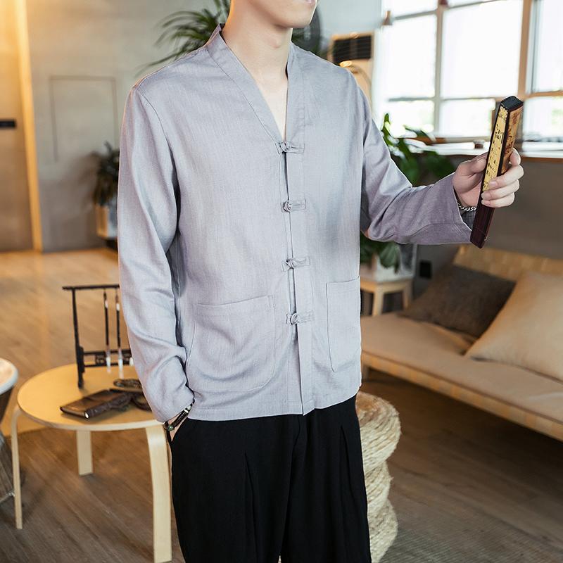 2018夏季纯色长袖衬衫休闲棉麻男装长袖亚麻衬衫男C05-P60