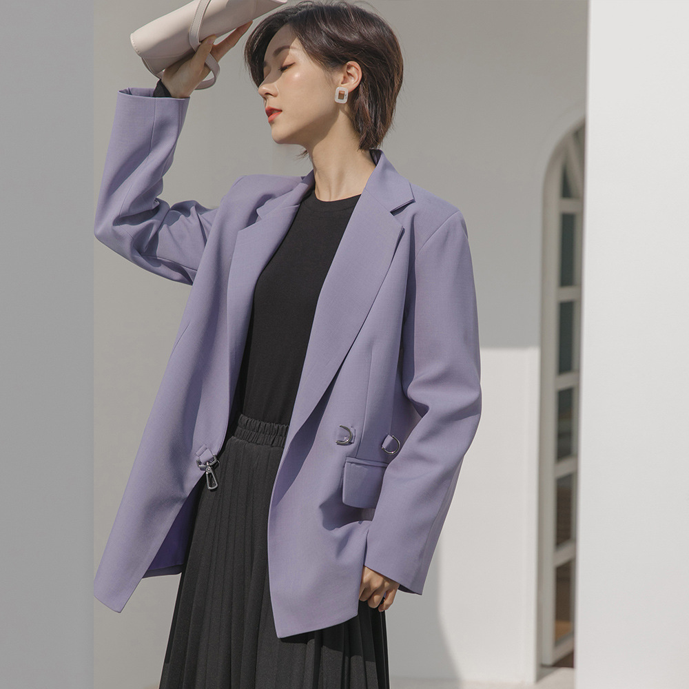 2020 Korean spring new simple Hong Kong style solid color long sleeve metal buckle medium length suit coat woman w020