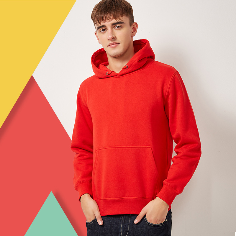 New autumn 2020 mens solid color sweater DIY custom logo hooded advertising shirt manufacturer to issue