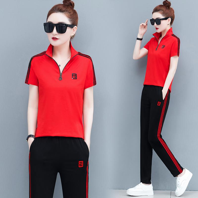 運動套裝女春秋裝夏季2020年新款韓版潮牌休閑時尚短袖立領兩件套