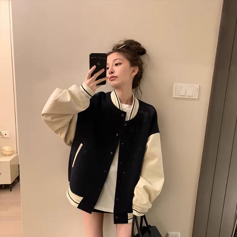 新款外套女2021韓版寬松百搭拼色小香風棒球服夾克