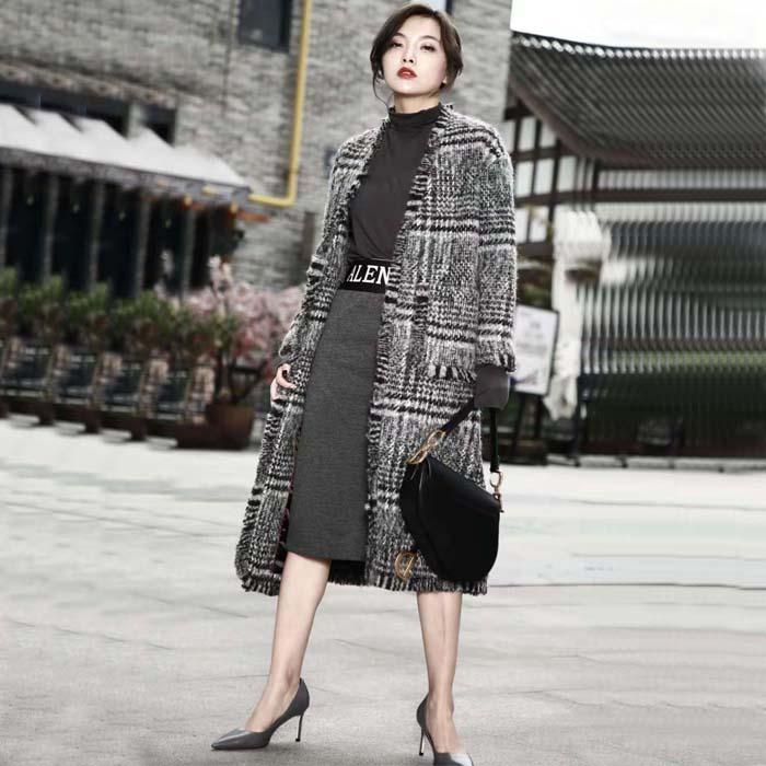 千鸟格大衣女韩版大牌女神羊绒外套加厚欧美中长款流苏毛呢子大衣