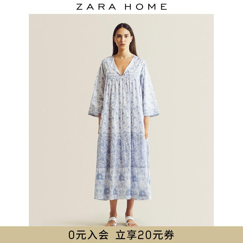 zara home蓝色调花卉印花连衣裙