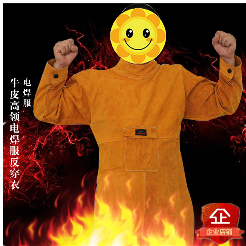 Reante genuine cow leather welding suit with sleeve leather apron anti radiation welding protective suit welders suit reverse dressing summer