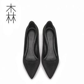 小ck新款单鞋女中跟裸色尖头细跟工作皮鞋职业正装百搭黑色高跟鞋