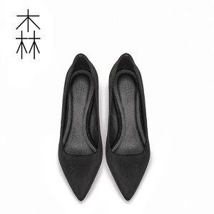2018新款单鞋女中跟裸色尖头细跟工作皮鞋职业正装百搭黑色高跟鞋