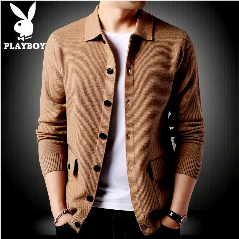 Playboy cardigan mens sweater Lapel autumn winter new loose knit pocket solid button coat