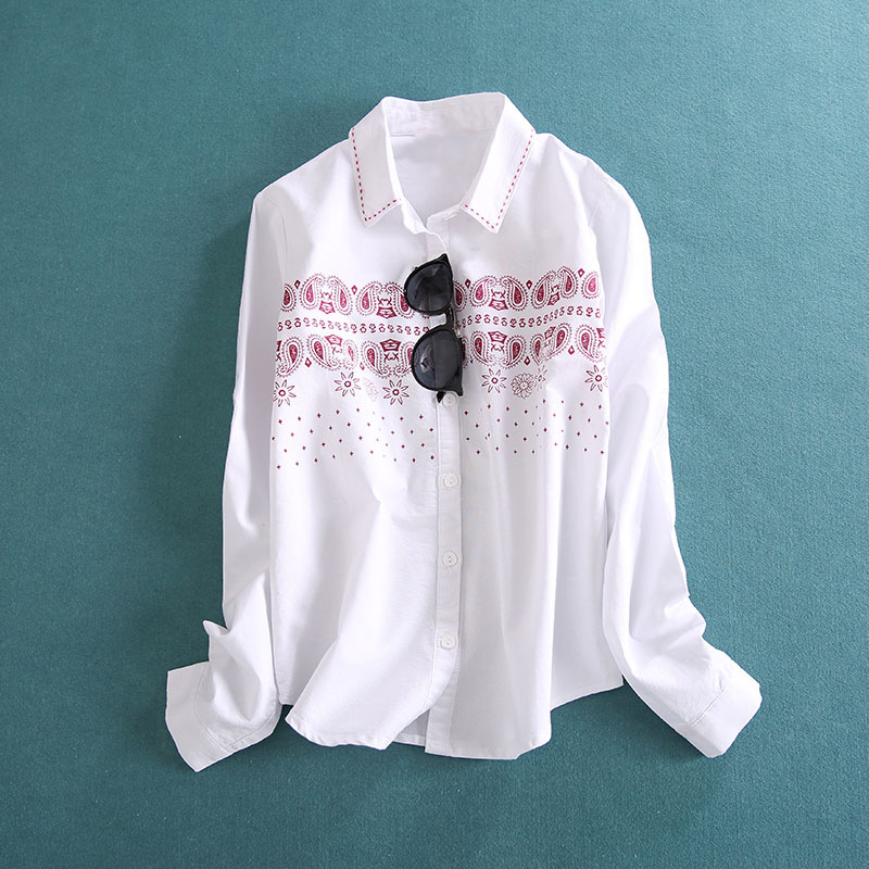 M Белый хлопок рубашка женщин воротником с длинным рукавом просиданию рубашка печатных хлопка весна/лето свежий и простой новый стиль литературы и искусства 6A699