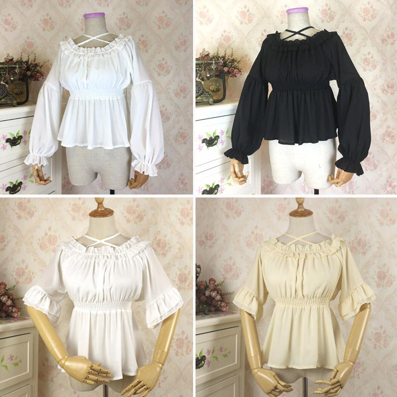 Lolita Dress soft girl Chiffon Top Lolita lining with womens underpainting court Shirt Long Sleeve Black Summer