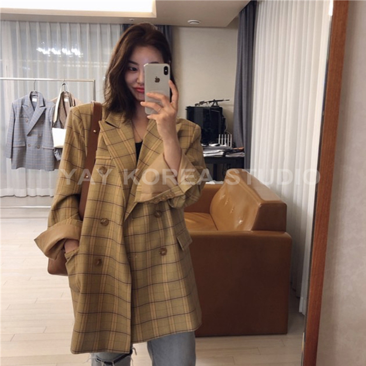 Chic net red Blazer womens autumn and winter Korean Plaid loose suit new style fashion trend in spring 2020