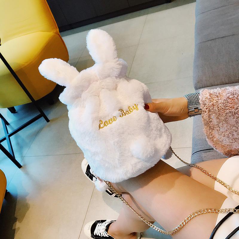 小包包女2019新款冬季韩版少女可爱毛绒兔子单肩包时尚水桶斜挎包满23元可用3元优惠券