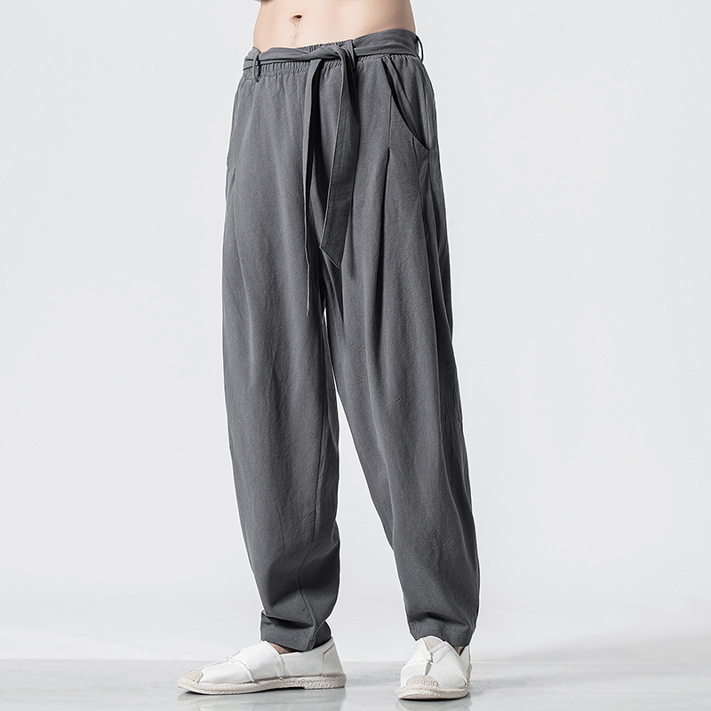 Spring 2019 Chinese Style Mens Cotton hemp casual pants qt6008-1 / k022p65