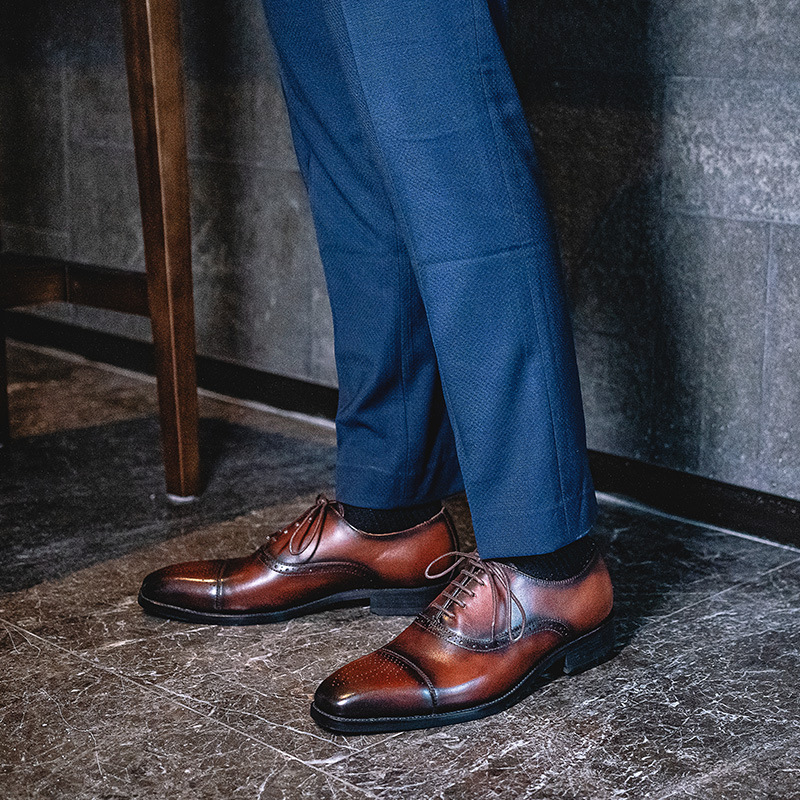 Gongchangmeng brand summer business dress leather shoes bro carved wedding shoes Leather Handmade British Oxford Shoes