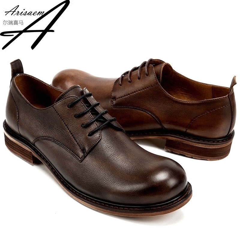 Goodyear mens shoes retro big head shoes vegetable tanned leather Debbie shoes high end hand made business formal leather shoes