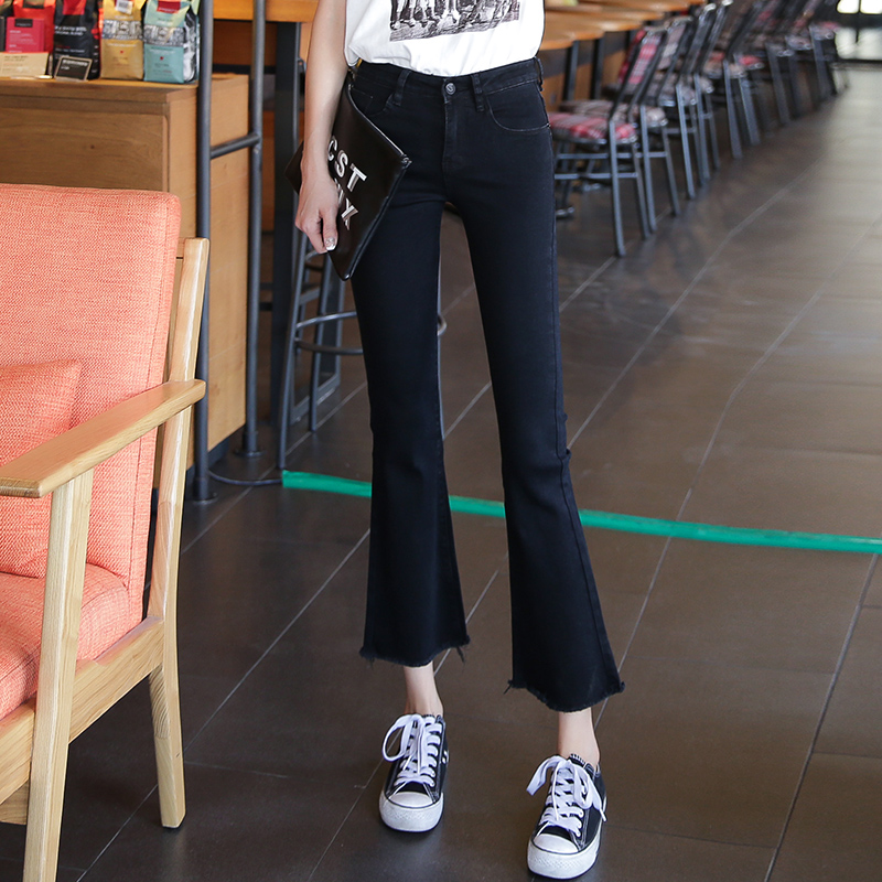 2020 eight point small trumpet jeans womens new loose high waisted slim straight tube wide leg cropped pants for women