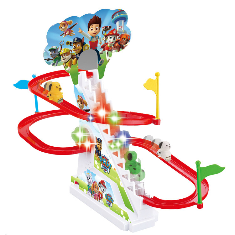 Childrens electric medium track super Feixia piggy Peggy little yellow man climbing stairs with sound and light music toys