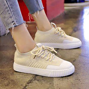 透气休闲鞋女2020春季新款百搭袜子鞋女学生跑步运动鞋女偏小半码