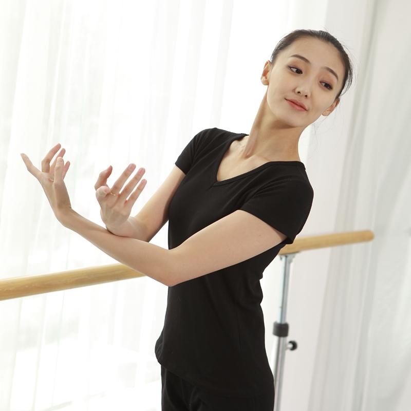 Одежда для танцев женская женская V воротник тонкий хлопок короткий рукав верх Одежда для взрослых Летняя одежда Йога Основные навыки эластичные тонкий
