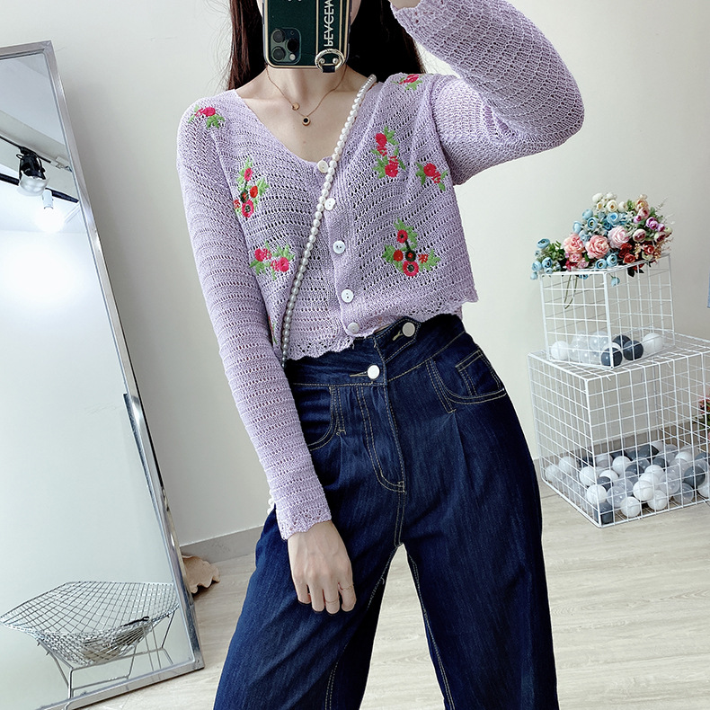 2020 college style autumn womens new long sleeve Embroidery Flower knitted cardigan top