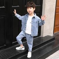 童装男童春秋套装2019新款牛仔韩版潮帅气两件套长裤长袖牛仔外套